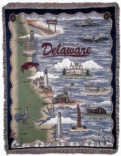 Beaches of Delaware Tapestry Throw