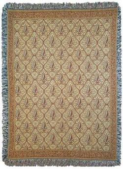 Fleur De Lis Natural Tapestry Throw