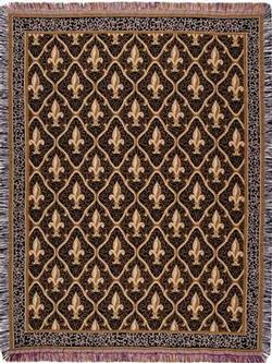 Fleur De Lis - Black Tapestry Throw