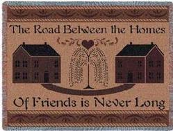 The Road Between Friends Tapestry Throw