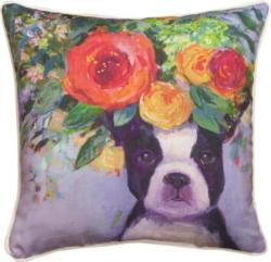 Dogs In Bloom Boston Dog Pillow