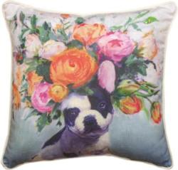 Dogs In Bloom French Bulldog Pillow