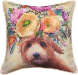 Dogs In Bloom Doodle Dog Pillow