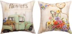NEW Fresh Flowers Decorative Reversible Pillow