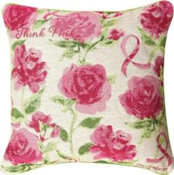 Think Pink Breast Cancer Awareness Tapestry Pillow