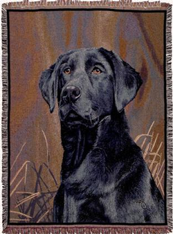 Black Lab Tapestry Throw