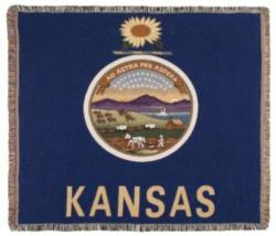 Kansas State Flag Tapestry Throw