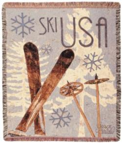 SKI USA Tapestry Throw