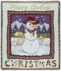 SALE A Happy Cowboy Christmas Tapestry Throw