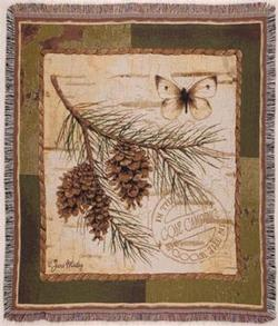 Pinecone Branch Tapestry Throw