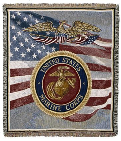 United States Marines Tapestry Throw