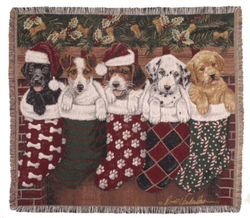 Christmas Puppies Tapestry Throw