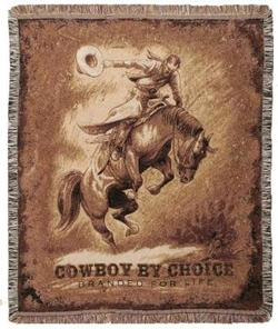 SALE Bronco Rider Tapestry Throw