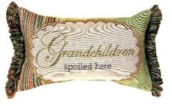 SALE Grandchildren Spoiled Here Tapestry Word Pillow