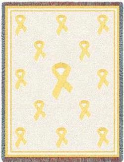 Yellow Ribbon Tapistry Throw Blanket