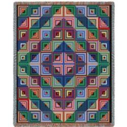 Log Cabin Quilt Tapestry Throw