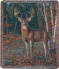 Autumn Sentinel, Philippians 4:13 Tapestry Throw