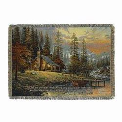 A Peaceful Retreat with Verse Tapestry Throw