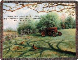 Pheasant Day Psalm 67:6 Tapestry Throw