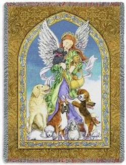 Angel of Dogs Tapestry Throw
