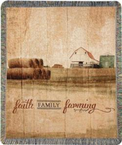 Faith, Family, Farming Tapestry Throw