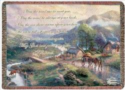 Emerald Valley with Irish Blessing Tapestry Throw