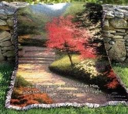 Afternoon Light Dogwood Proverbs 3:6 Tapestry Throw