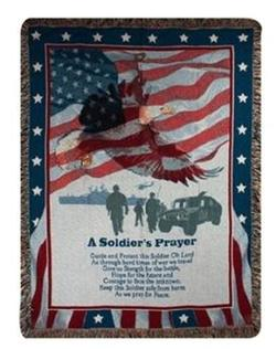 A Soldier's Prayer Tapestry Throw