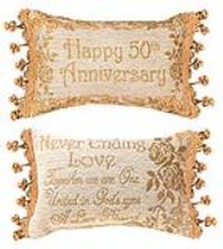 50th Anniversary Reversible Tapestry Word Pillow