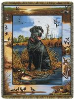 Black Lab With Decoy Tapestry Throw