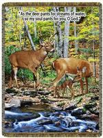 NEW Deer Sreams of Water Psalm 42:1 Tapestry Throw