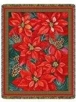Poinsettia Tapestry Throw
