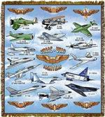 USAAC and USAF Fighter Planes Tapestry Throw