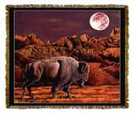 Native American Buffalo Moon Rising  Tapestry Throw