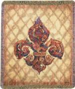NEW Boho Fleur De Lis Tapestry Throw