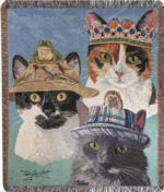 NEW Cats In Hats Tapestry Throw