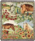 NEW Horse in Florals Tapestry Throw