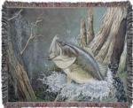 NEW Large Mouth Bass Tapestry Throw