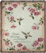 Ruby's Among the Fuchsia's, Psalm 91:4 Tapestry Throw