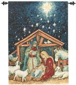 Away In A Manger Fiber Optic Tapestry Wallhanging
