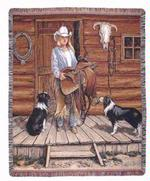 Working Cowgirl Tapestry Throw
