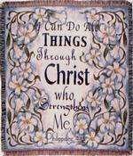 All Things, Philippians 4:13 Tapestry Throw