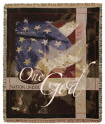NEW Under God Patriotic Tapestry Throw