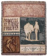 NEW Cowgirl Forever Tapestry Throw