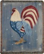 NEW Red White & Blue Rooster Tapestry Throw